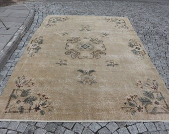 very rare large size turkish rug, 6.6 x 10.2 ft. Free Shipping oversize rug, handknotted rug, muted rug, bohemian rug, hall floor rug MB516