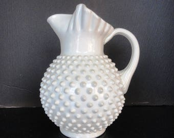 Vintage FENTON Hobnail Milk Glass LARGE Ice Lip Pitcher - FREE Shipping!!