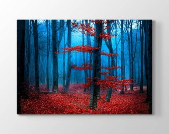 Red Forest Printing On Canvas, Wall Art, Canvas Prints, Room Deco, Beautiful View, Wonder
