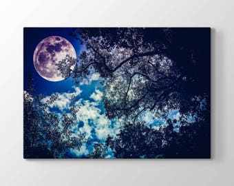 The Moon and Tree Printing On Canvas, Wall Art, Canvas Prints, Room Deco, Beautiful View, Wonder, The Night View