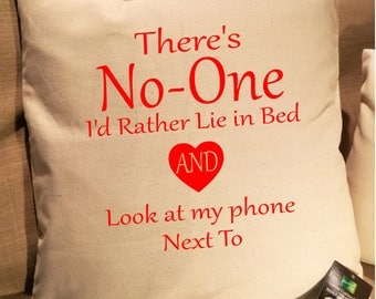 There's No-One Phone Bed Cushion Cover. Fairtrade Cotton.