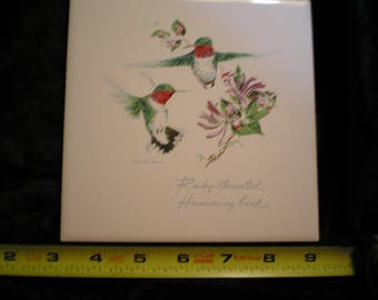 Vintage 1970s Ceramic Bird Tile - Ruby Throated Hummingbird