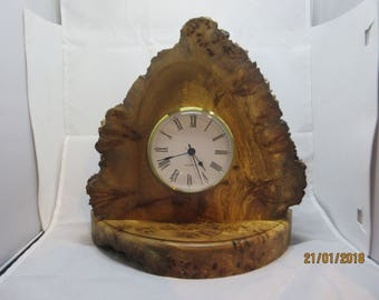 Mantle Clock Handcrafted in Natural Burrwood