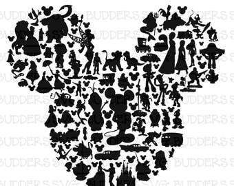 Character Filled Mickey Mouse Head SVG, Disney Cut File, Disney SVG, Disney Shirt svg