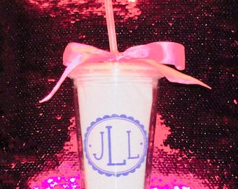16 oz clear tumbler with monogram