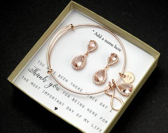 Morganite Earring Light Pink Blush Earrings Soft Pink Bridesmaid gifts Jewelry Rose Gold Morganite Bridal jewelry Bridesmaid gift set 4 5 6