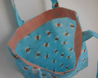 Busy bee kids, children, girl, min/ tote/beach/gym and shopping bag project bag/knitting bag