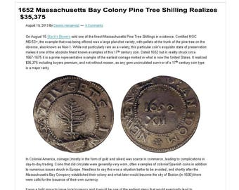 Very Rare Old Vintage 1652 Pine Tree Shilling Massachusetts
