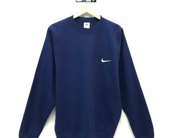 Rare!!! Vintage Nike Small Logo Embroidery Sweatshirt Pullover Jumper Sweater Crew Neck Size XXL Fit To Size L