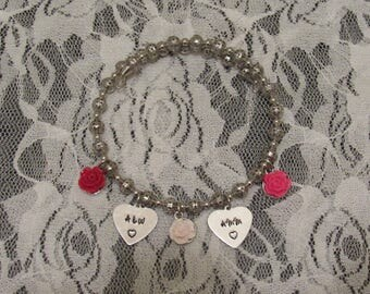 Personalized Hand-Stamped Initial Charm Bracelet
