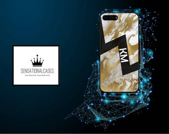 Personalised Liquid Gold Marble Lightning Initials Phone Case for Apple iPhone and Samsung Galaxy 5 6 6s 7 8 10