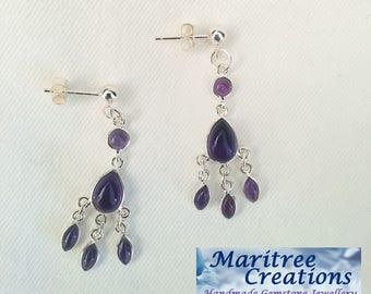 Amethyst and sterling silver chandelier earrings.