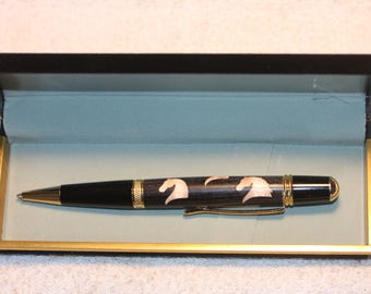 Handturned Thoroughbred Horse Head Inlayed Pen in a Black Velour Case