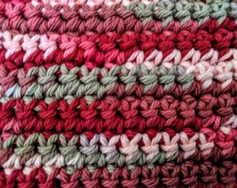 Pink and Grey Variegated 100% Cotton Washcloth or Dishcloth