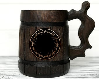 Lord of the Rings Gift. Hobbit Mug. All we have to decide is what to do. The One Ring Mug. Beer Steins. LOTR Gift. Wooden Beer Tankard #74
