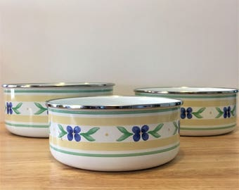 Three (3) Stack-able Vintage Enamelware Mixing Bowls with Blue Flower Pattern
