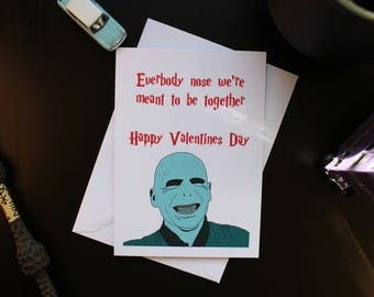 Harry Potter Lord Voldemort Valentines card, funny, pun,
