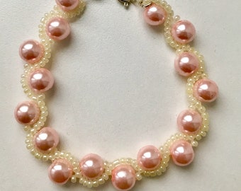 Pastel pink & lemon curvy bracelet
