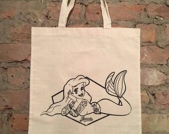 Inked Mermaid Tote Bag