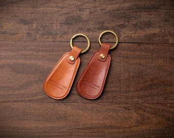 Leather shoehorn / Key chain / Key Ring Chain