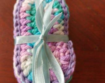 Handmade crochet teething biscuits