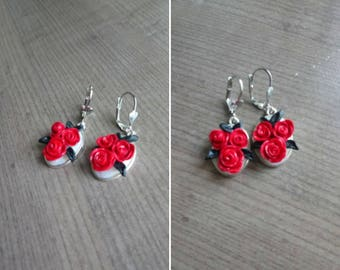 Earring, rose red cameo style