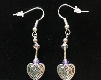 Sparkly Purple & Clear Swarovski Crystals with some Vintage Sterling Silver Beads and other Quality Materials Heart Earrings