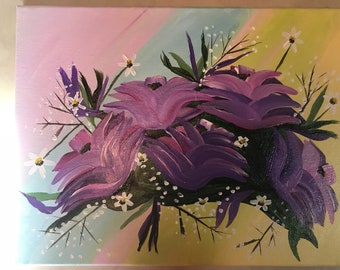 Flowers on a 11x14 canvas