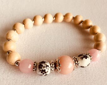 Pink Quartz Bracelet // elegant beaded stretch bracelet // natural stones, porcelain, and filigree silver