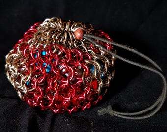 Chainmaille Dice Bag in Red and Champagne Colour