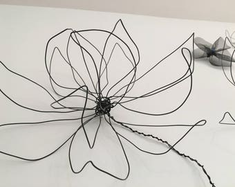 Wire Flower Wall Decor. One Flower. Wire Art. Black Wire. Wall Decor