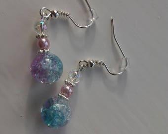 Pink & Blue Two-Tone Sterling Silver Dangly Earrings