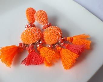 Bright earrings, Orange earrings, long earrings, tassel earrings, statement earrings, beads earrings, dangle orange earrings, boho earrings