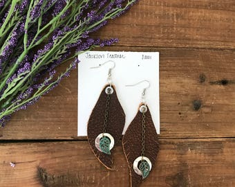 Jackson Feather Earrings - leather -  distressed vintage brown