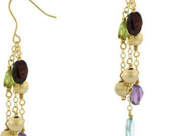 18k Gold Filled Vermeil Multi Gem Drop Dangle Earrings