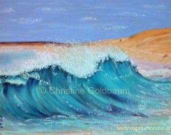 Sal Beach-Ponta Preta original artwork pastel painting 20 x 30 cm