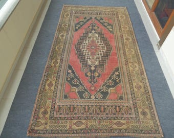 Turkish Oushak Rug, Vintage Oushak Rug, Vintage Turkish Rug, Wool Oushak Rug, Woven Turkish Rug, Living Room Rug