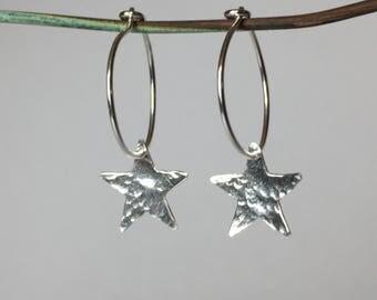 Sterling silver hoop earings with stars