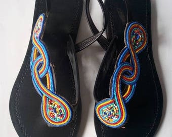 African sandal,beaded sandal,gift for her,leather sandal,kenyan sandal,masai sandal,Summer sandal