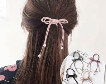 5 pcs Hair ties bow elastic for ponytail
