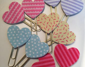 Set of 2 Felt Heart Clips . Fancy Clips . Bible Journaling Clips . Planner Clips . Bullet Journaling Clips . Bookmarks. Page Markers.