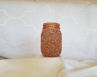 glitter covered, 8 ounce, glass jar