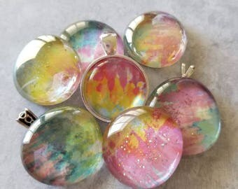 Multicolor Tie Dye Decorated, Magnets, Necklace Pendant, Cabochon