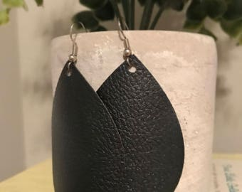 Leather Earrings - Faux Leather teardrop Earrings