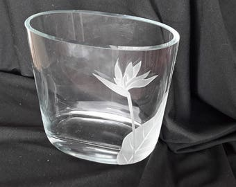 Clear etched crystal vase