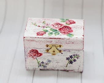 Small wooden chest.Gift,Mothers day,decoupage,handmade,Jewellery Small Chest ,