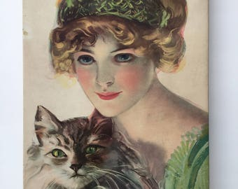 Vintage box with lady and cat on front