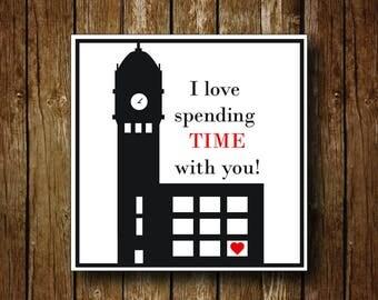 """Clocktower """"Time"""" Valentine's Day Card"""