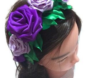 plastic headband, toddler headband, purple flower girl headbands, big girl headband, girl headband, plastic hard headband,