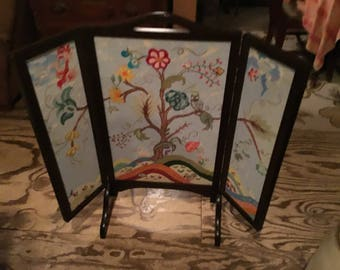 Vintage embroidered fireplace screen